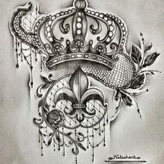 Dessin unique crayon projet tatouage couronne dentelle fleur de lys