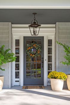 Beautiful Farmhouse Front Door Entrance Decor And Design Ideas - Front Exterior Best Home Design Grey Front Doors, Front Door Entrance, Entrance Decor, Front Door Colors, Glass Front Door, Front Entrances, Front Door Decor, Entry Doors, Glass Door
