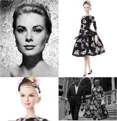 """Grace Kelly The Romance Doll Barbie (2011). She wears the fabulous floral print dress Miss Kelly wore when she first met her future husband at the 1955 Cannes Film Festival.  The dress was made from a  """"easy to sew"""" pattern the actress modeled for McCall magazine."""