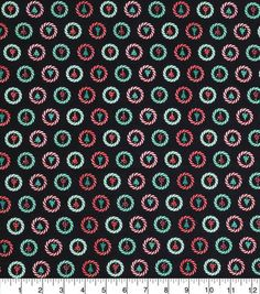 Keepsake Calico Christmas Cotton Fabric-Trees In Striped Circles