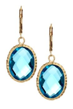 18K Gold Clad Hammered Bezel Oval London Blue Topaz Crystal Lever Back Earrings
