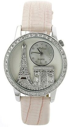 Stunning Ladies Diamond Accented Melissa Paris Eiffel Tower Watch with Genuine Leather Band (Pink) Melissa ht… Jewelry Accessories, Fashion Accessories, Pink Paris, Cute Watches, Pink Watch, Bling, Fossil Watches, Beautiful Watches, Fashion Watches