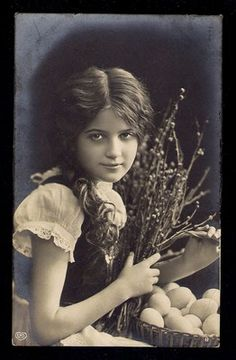 Beautiful EDWARDIAN EASTER GIRL 1910s Photo Postcard