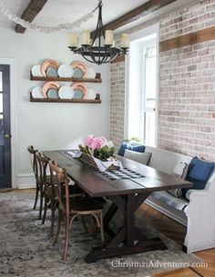 Simple Summer Farmhouse Dining Table   Love That Brick Wall And Wood  Farmhouse Table! Lots