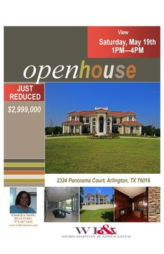 OPEN HOUSE!!!  Saturday, May 19th, 1PM to 4PM,  2324 Panorama Court  Arlington, TX 76016.  See you there!