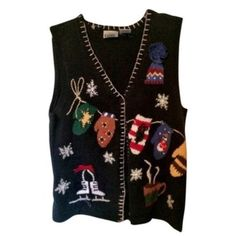 HOST PICK VINTAGE UGLY CHRISTMAS VEST Adorable woven sweater vest!55% ramie 45% cotton **remember to bundle and save 10%** no holds/trades PRICE IS FIRM UNLESS BUNDLED Jackets & Coats Vests