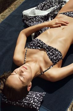"Hermès - Le Bain 2015.  Three-part swim kit in ""Les Lettres d'Hermès"" print, plain beach towel."