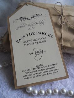 Hen Party Pass the Parcel- first Night in Cottage Hen Night Ideas, Hens Night, Hen Party Bags, Party In A Box, Wedding Games, Wedding Favours, Hen Doo Ideas, Stag And Hen, Bachelorette Party Planning