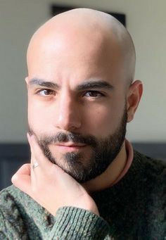 Bald Men With Beards, Bald With Beard, Black Men Beards, Bald Guy, Trimmed Beard Styles, Faded Beard Styles, Beard Styles For Men, Shaved Head With Beard, Short Hair With Beard