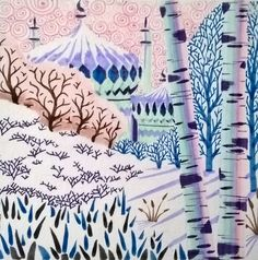 'Snow pavilion' signed, mounted, limited edition giclee print mounted to square. Peta, Pavilion, Giclee Print, Collage, Snow, Drawings, Frame, Artist, Artwork