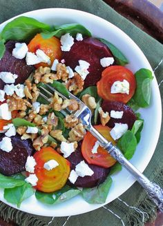 Roasted Beet Salad with Goat Cheese & Toasted Walnuts Healthy Recipes Gluten Free & Vegetarian /thespicyrd/
