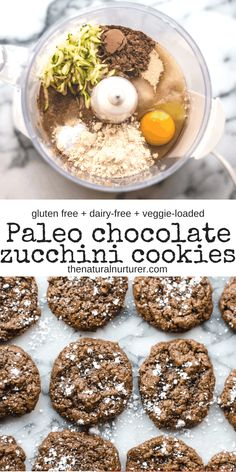 This Fudgy Chocolate Zucchini Cookie recipe makes for a soft and delicious treat that is easy to make. Veggie-loaded for a little extra healthy goodness, they are Paleo, gluten free and dairy-free. Zucchini Cookie Recipes, Chocolate Zucchini Cookies, Paleo Cookie Recipe, Paleo Cookies, Paleo Chocolate, Real Food Recipes, Free Recipes, Kid Recipes, Paleo Treats