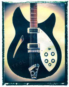 guitar print black rickenbacker guitar art print by GuitarArtPrint, $10.00