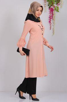 Prenses Tunik – Somon – Best Of Likes Share Islamic Fashion, Muslim Fashion, Hijab Fashion, Fashion Outfits, Best Casual Dresses, Modest Outfits, I Dress, Strapless Dress, Dress Pesta