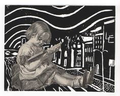 Infância, éter e poesia. Childhood, ether and poetry. Collage/linocut - 2008