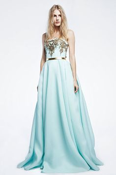 Such a stunning light blue gown with Reem Acra's signature gold hand embroidery lace. Reem Acra Resort 2015 Collection