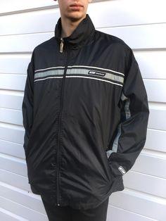 Men's vintage Reebok jacket rain coat shower proof Sportswear black grey Zipper top Tracksuit