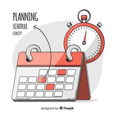 Premium Vector   Lovely hand drawn planning schedule concept Desk Calender, Timetable Template, School Timetable, Islamic New Year, Vintage Alarm Clocks, Weekly Planner Template, Learning Time, Calendar Design, Stationery Set