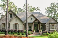 Front elevation of Craftsman home plan (ThePlanCollection: House Plan #142-1168)