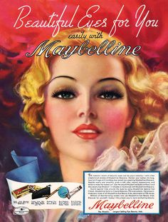 Illustrated image of makeup, from an advertisement or painted image from the decade (this is not a photograph).