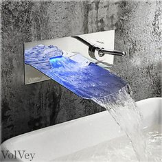 LED-Wall-Mount-Bathroom-Faucet-Chrome-Brushed-Nickel-Oil-Rubbed-Bronze-Waterfall