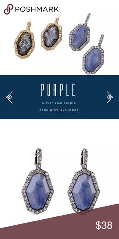 """Gem Stone Earrings Purple lapis stone earrings with pave crystal setting. Silver plated metal base. Stones vary in color. 2"""" drop length. ALL LAYOUTS WITH PHOTOS ARE COPY WRITTEN Jewelry Earrings"""