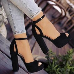 Buy Women New Summer Fashion Casual Peep Toe Sandals Women Fashion Shoes Sexy High Heel Sandals Elegant Thick Heel Sandals at Wish - Shopping Made Fun Diy Converse, Converse Shoes, Nike Shoes, Wedge Shoes, Shoes Heels, Heeled Sandals, Dress Shoes, Sandals Outfit, Shoes Sneakers