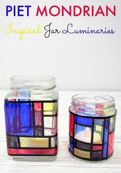What a fab way to upcycle glass jars. These these beautiful Mondrian Inspired Jar Luminaries are a simple kids art and craft activity.
