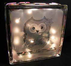 owls sandblasted glass block light