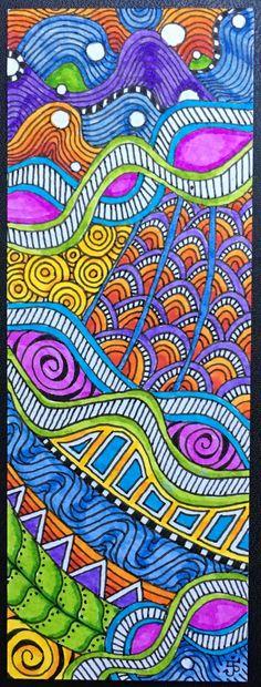 ZIA bookmark. Julie Beland. Zentangle.