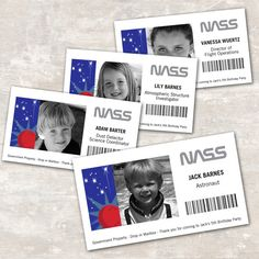 Items similar to PRINT & SHIP Space Rocket Astronaut Birthday ID Badges (set of >> personalized and shipped to you Nasa Party, Rocket Ship Party, Boy Birthday, Birthday Parties, Astronaut Party, Space Classroom, Outer Space Party, Cs Lewis, Space Theme