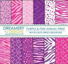 Purple & Pink Animal Print Digital Papers - INSTANT DOWNLOAD - Printable JPGs - Scrapbook Paper Pack, Birthday, Invitations