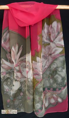 SALE-Hand Painted Scarf Water Lilies Unique by FilkinaScarves