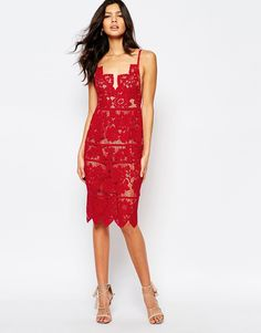 For Love and Lemons Gianna Midi Dress in Red Lace at asos.com 95e49924ad5d