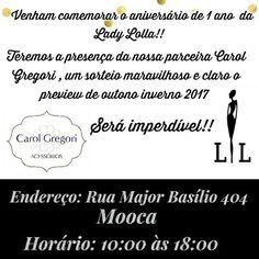 """Dia 25 de Março, a Lady Lolla comemora seu primeiro ano de muita coisa linda, e as bijus da Carol Gregori estarão lá em uma """"mini loja"""" montada com exclusividade para festejar esta data. 🎂🎉. Além das novidades da estação das duas marcas, vai rolar sorteio e outras surpresinhas. 🎁 Vai que vai ser bom demais! 🎉🎂🎁 . 💠 ATENÇÃO: A loja física da Carol Gregori estará aberta e funcionará normalmente neste dia. 💠 . #aniversario #ladylolla #roupas #bijus #festa #alegria #presente #1st…"""