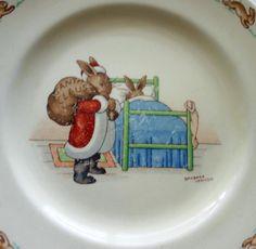 Royal Doulton Bunnykins Santa w Bag & Sleeping Bunny Signed Barbara Vernon - Rare