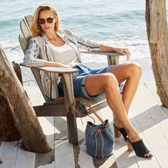 Kick back this spring season in an outfit that is just as stylish as it is comfortable! Check out the Cuffed Relax Shorts, Linen Blazer, and Bijou heels.