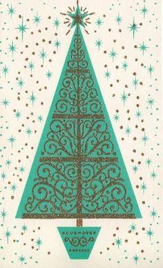 Vintage Greeting Card Christmas Decorated Tree Starburst Retro Mod i887