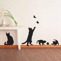 adesivos de parede no rodapé de gatos