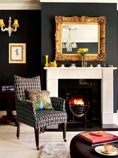 Award Winning Victorian Maisonette in London | Interior Design Files Black walls- light room.. white mouldings..