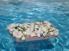 Floating flower boxes for any fountain or pool at an outdoor reception Do something like this in the pond after dark Floating Flowers, Floating Candles, Diy Candles, Floating Pool Decorations, Pool Wedding Decorations, Do It Yourself Decoration, Diy Pool, Floral Supplies, Flower Boxes