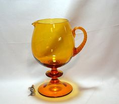 Amber Glass Pedestal Pitcher  Empoli Italy  by ChicMouseVintage