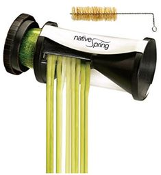 Native Spring Spiral Vegetable Slicer, Hand Held with Cleaning Brush, Zucchini & Carrot Veggie Pasta Maker Veggie Pasta Maker, Zucchini Pasta Maker, Zucchini Spaghetti, Best Vegetable Spiralizer, Spiral Vegetable Cutter, Avocado Pasta, Brush Cleaner, Cleaning, Vegetables