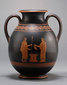 Wedgwood Encaustic Decorated Black Basalt Vase, England, 19th century, bulbous shape with two loop handles, iron red, black, and white decorated with central figures within running laurel and berry and meander banding.