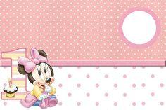 Minnie Baby - Kit Completo com molduras para convites, rótulos para guloseimas, lembrancinhas e imagens! - Fazendo a Minha Festa