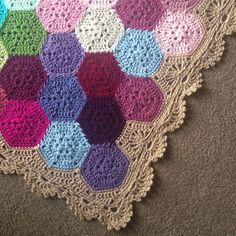 Geometric Lace by BabyLove Brand. A nice way of turning your hexagons into a rectangular blanket
