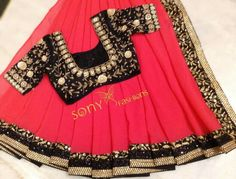 Pink and black wmbroidery saree