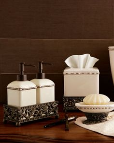 Ceramic Vanity Accessories by GG Collection at Horchow. I have these in my bathroom and love them. So pretty.
