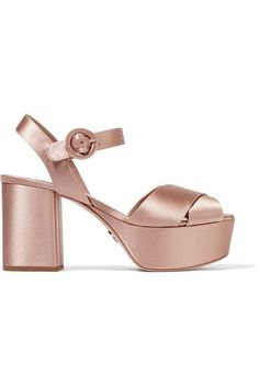 Prada - Satin Platform Sandals - Blush - IT36.5
