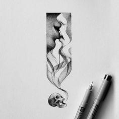 Kiss of death kissofdeath black drawing dots illustration artwork pen paper Dotted Drawings, Ink Pen Drawings, Drawing Sketches, Ink Pen Art, Drawing Tips, Easy Drawings, Black Pen Sketches, Couple Drawings, Art Mort